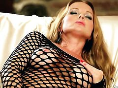 Silvia Saint touches her muff pie playfully