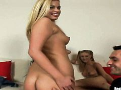 Blonde with big ass and bald bush strips down to her bare skin to play with her muff pie naked