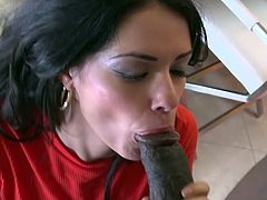 Visit official WCP Club HD's HomepageImpressive brunette plays really wild on this black monster, sucking it hard and riding it like a whore before getting jizzed on her entire face