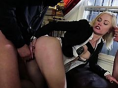 Sex starved stunner Ash Hollywood cant resist the temptation to take stiff love stick deep down her throat