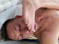 Blonde Leya Falcon gets turned on then face fucked