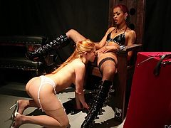 Black mistress Skin Diamond is in charge today. Her white slave is tied up and has her sweet tits played with, as they hand out.