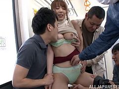 Yui was enjoying a nice train ride home, when a group of horny men came up to her, looking to fuck. Luckily she was horny, too. She let them tear off her clothes and play with her wet cunt. She is a cock fiend, as she jacked off one cock and sucked on another.
