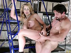 Tommy Gunn makes Corinna Blake with massive melons gag on his thick boner