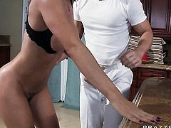 Angel faced hussy Franceska Jaimes with gigantic jugs has some time to get some pleasure with Johnny Sinss throbbing love wand in her cunt