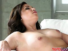 Brunette Brooke Lynn touches her slit gently