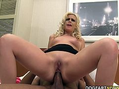Tara takes her black boyfriend back to the hotel room for some hot interracial fucking. Tara's gaping sphincter is all the proof needed to show that her ass is getting its first ever pounding by black dick.