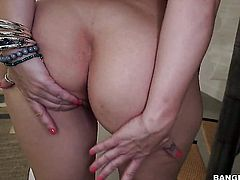 Brunette Sara Jay with big butt gets her bare hands attacked by dudes erect meat stick