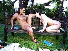 Lustful chachita hooker and Noelle Easton screams from endless orgasms after fingering each others lesbian wet spot