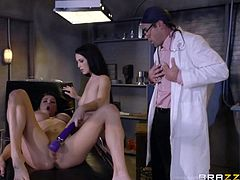 He is always in search of the next medical discovery. This hunky doctor has two female patients on his operating table, and he takes notes as they fuck each other. Watching the sluts play with sex toys, makes him want to join in...