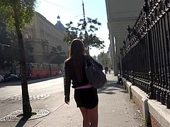 Amirah Adara is a cash hungry beautiful girl with long brunette hair. She gets picked up in the street. She gets paid to do lewd things things on cam.