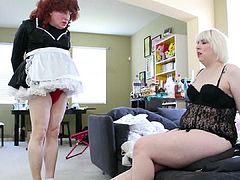 Sissy maid in frilly ankle socks part 1