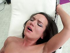 Nataly Gold has fire in her eyes while blowing mans hard ram rod