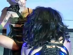 tattooed horny fetish lesbians fisting live on public sexfair stage