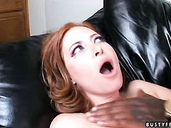 Redhead slut Ginger Blaze with giant breasts has a nice time sucking guys rod