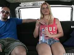 Blonde Valentina Star with big melons and bald pussy lets dude shove his erect ram rod in her mouth