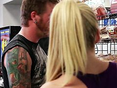 Stormy Daniels gives unbelievable oral pleasure to horny guy by blowing his man meat