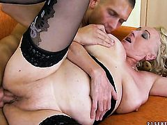 Blonde hottie plays with her clit as she gets her hole humped