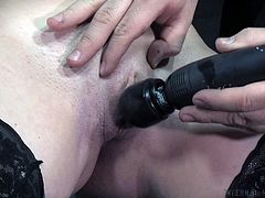 Slutty Rylie gets awfullt used by a horny dominant guy, who has tied her hands strongly. Watch him arousing her appetizing cunt with the help of a kinky vibrator, as this brunette hot bitch spreads her legs. Relax and enjoy!