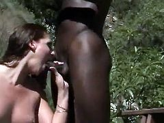 Outdoors interracial pussy drilling action with nice ass brunette hottie