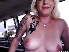 Chanel Monroe with big natural boobs goes topless for cash