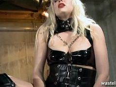 Pretty sex slave chained and taught how to bring Mistress to orgasm