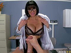 He has been having erectile difficulties, but as soon as he sees the doctor's big boobs, he gets hard right away. She makes him stroke off to her, to make sure he can maintain an erection. Soon Veronica is undressed and ready to be penetrated.