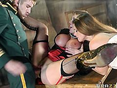 Danny D gets seduced by Cathy Heaven  Rebecca Moore with juicy knockers and then bangs her bum