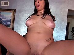 Black haired sexy girlfriend Nina Lopez with juicy natural titties and shaved snatch exposes her puffy nipples and big clit as she gets her pink hole drilled by a hard cock in front of the cam.