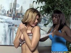 Monique spanked Leah Livingston like a bad little girl, then she pushes dildo in her pussy.