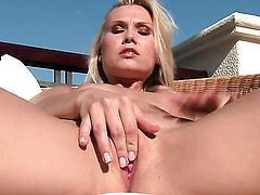 Horny wench Michelle with bald snatch is too horny to stop masturbating