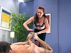 Ginger Mistress Humiliates the bloke And Toy His anal
