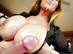 Kianna Dior with giant breasts warms Jonni Darkko up and takes his sausage
