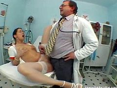 Lustful nurse is jumping on a doctor's stiff cock like a true cowgirl