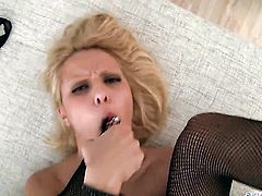 David Perry uses his stiff worm to bring Cherry Kiss to the edge of nirvana before she gets her throat fucked