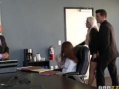 It is an important conference meeting for both Holly and Ramon, but the business is so boring, they start getting their pleasure right there at the table. She spreads her legs wide and has him fuck her with a dildo, strapped to his foot. They quickly just go to the front of the room and start getting down.