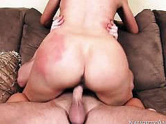 Sex obsessed tramp Sasha Sean with huge knockers and trimmed snatch wants Seth Gambles sausage to fuck her wet spot hard