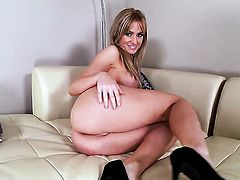 Angela Sommers dreaming about real sex with real man with sex toy in her wet hole
