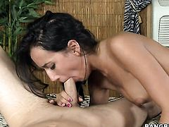 Brunette Amia Miley lets man bang her hands hard with his nice fuck stick