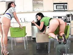 Luscious Lopez with big bottom knows how to take lesbian sex to the whole new level as she does it with Ava Rose