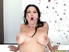 Latin Missy Martinez with massive hooters and trimmed snatch makes Mick Blues erect snake disappear in her mouth in sexual ecstasy