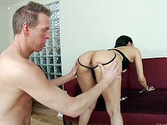 Playful sexy Vicki Chase shows off her perfect ass and natural tits without taking off her black outfit. She gets her pussy fingered from behind by Mark Wood. He loves her hot body!