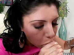 Brunette Sativa Rose spends her sexual energy with throbbing fuck stick in her hands