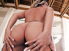 Tattoos Capri Cavanni with massive tits and clean snatch gets naked and fucks herself with her fingers