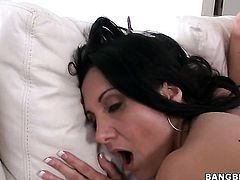 Brunette senorita gets her wet hole licked many times by Abbey Brooks before getting enough