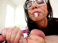 Brunette with glasses Aidra Fox sucks Jonni Darkkos big balls from your point of view. Nothing can stop nasty girl in fishnet dress from licking his balls again and again.