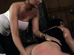 Brunette Pop Anca with big melons is on the edge of nirvana after sensual sex with lesbian Mandy Bri