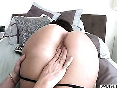 Brunette chicana Natalie Nunez with big butt and trimmed cunt needs face cumshot badly
