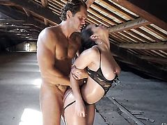 Fabulously hot hussy Nekane with giant jugs has fire in her eyes while eating Nacho Vidals rock solid worm