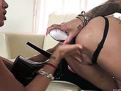 Unbelievably hot chick Bonnie Rotten with big jugs looks for a chance to get orgasm after pussy munching with Dana Vespoli